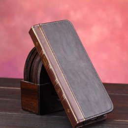 Wholesale Iphone Book Cases - Retro The Bible Vintage Book Business Folio Leather Phone Case For iPhone 6 6s Flip Wallet Holder funda brown Back Cover