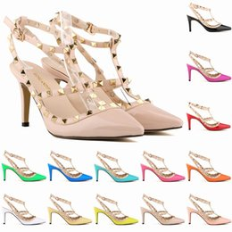 Wholesale Solid Colors Ties Purple - Fashion Rivet Sandal Hollow Pointed Stiletto Heels Sexy Casual Party Shoes 14 Colors Available Size 4-10