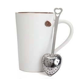 Wholesale Wholesale Stainless Steel Spoon - Wholesale New Strainer Steeper Handle Shower Tea Strainer Tool Heart Shape Stainless Steel Tea Infuser Spoon