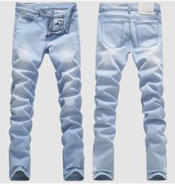 Wholesale Jeans Boys Feet - HOT 2016 Outdoor Cowboy Bleaching Washed Feet Casual Boom Elastic Male Pencil Pants Denim Boys Hip Hop Light Blue Biker Jeans