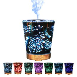 Wholesale Desktop Ultrasonic - Desktop USB Essential Oil Diffuser Cone Shape Night Light Aroma Mist Spray Diffusers Stars 3D Humidifier Portable 125zk B R
