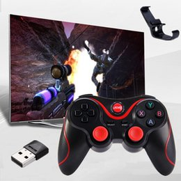 Wholesale Joystick Control Pc - T3 Smart Phone Game Controller Wireless Joystick Bluetooth 3.0 Android Gamepad Gaming Remote Control for phone PC Tablet with Phone holder