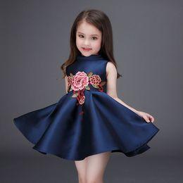 Wholesale Vestidos Festa Kids - Fashion 2016 Tutu Embroidery Children Toddler Flower Girls Vintage Vest Dresses Summer Casual Vestidos De Festa Kids Clothes Princess