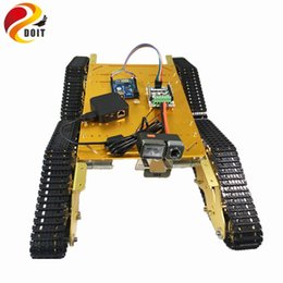 Wholesale Rc Crawler Kit - Wholesale- DOIT Metal Crawler Robot Tank Chassis T900 with Arduino and WiFi Video Remote Control Transmission for VR Shoot RC Tank Toy