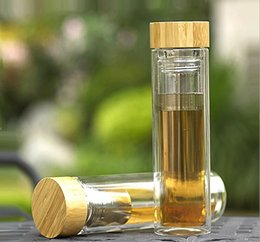 Wholesale Drink Funnel - 2016 new high boron silicon double layer bamboo cover glass cup water bottle Business gifts cup with tea funnel thick heat insulation