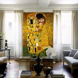 Wholesale Gustav Klimt Oil - The Kiss Mural Gustav Klimt Oil Painting Custom 3D photo wallpaper waterproof Wallpaper Classic Art Bedroom Study Kid Room decor