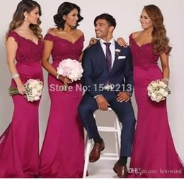 Wholesale Low Shoulder Tops - Hot Pink Off the Shoulder Mermaid Junior Bridesmaid Dresses 2018 New Arabic Lace Top Sexy Low Back Maid Of Honor Wedding Party Wear