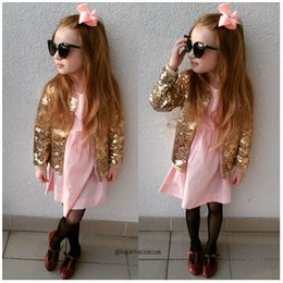 Wholesale Glitter Clothes - Fashion Ins Baby Girls Gold Sequin Jackets Coats Kids Glittering Paillette Zipper Coats Children Outwears Clothing Clothes