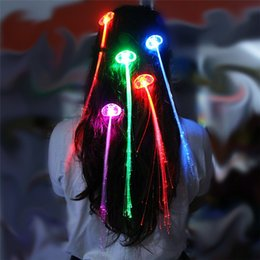 Wholesale Neon Clip Hair Accessories - 5pcs lot Lighting Hair Braid Clip Butterfly Hairpin Multicolor Hairbows LED party accessories Flash Light neon Xmas Party dance Celebration