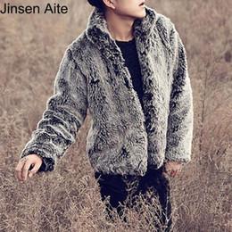 Wholesale Korea Jacket Faux - New 2017 Fashion Winter Jacket Korea Style Causal Solid Mandarin Collar Faux Fox Fur Soft Men Coat S-3XL High Quality 0476