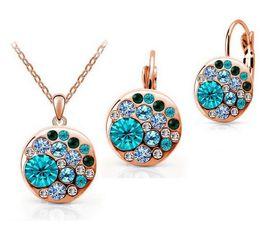 Wholesale Wholesale Crystal Earring China - Fashion Cz crystal made with Swarovski Elements gold jewelry set for Women Round Sets conjuntos de joyeria Wedding jewelry sets bridal sets