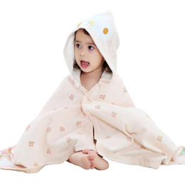 Wholesale Wholesale Kids Hooded Towels - 2017 Summer Baby Cloak Baby Towel Cotton Kids Robes Pink Yellow Beach Hooded Shower New Arivals