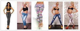 Wholesale Cheap Trousers For Women - Fashion pants for women 2016 Printed Leggings Jeans Cheap Denim Spandex Fitness Leggings for Women sexy Fitness Pants trousers Leggings 50