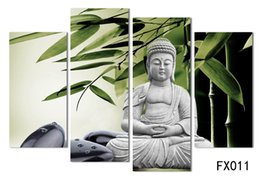 Wholesale Cartoon Marbles - Modern Buddha Painting 4 Picture Home Decoration marble buddha and banboo landscape art canvas no frame H 011