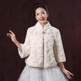 Wholesale winter wedding coats for bridesmaids - Champagne Faux Fur Bridal Shrug Bolero Cape Stole 3 4 Sleeves Jacket Coat Perfect For Winter Wedding Bride Bridesmaid Free Shipping