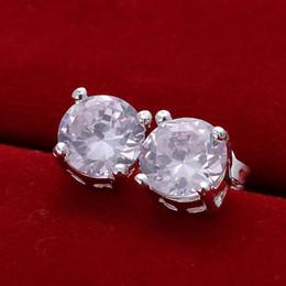 Wholesale Shell Earings - E096 women earrings 925 Sterling Sliver Fashion Jewelry Cubic Zirconia Silver Stud Earrings bijoux brand ladies earings brincos