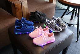 Wholesale Girls Black School Shoes - 2017 Children Shoes For Kids Light Up Shoes Boys Mesh Breathable Sport Led Sneakers Teenager Girls Running Shoes School Trainers