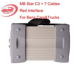Wholesale C3 Star Cables - Wholesale-Top Quality V2016.3 Red Interface Mb Star C3 Pro Diagnostic Multiplexer With Seven Cable For BEN-Z Trucks and Cars DHL Free
