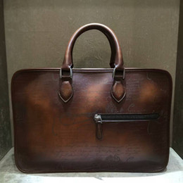 Wholesale Handmade Italian - Wholesale- TERSE_Best gift for man leather tote bag handmade vintage style briefcase engraving service Italian genuine leather custom bag