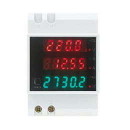 Wholesale Time Display Meter - AC 80-300V 0-100.0A ammeter voltmeter Din rail LED volt amp meter display active power power factor time Energy voltage current