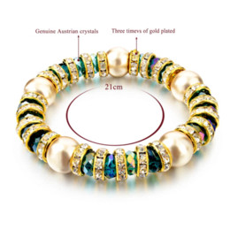 Wholesale Vintage Green Agate Bracelet - Simulated Pearl Jewelry Green Crystal Bracelets For Women Vintage Gold Filled Bracelets Bangles Fashion Bijoux SBR150228