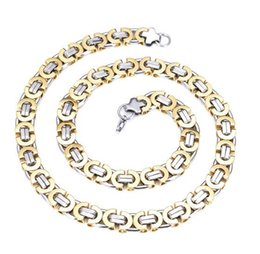 Wholesale byzantine steel chain - Hotselling Trendy 24'' Men Gold Silver High Quality 316L Stainless Steel Solid Byzantine Link Chain Necklace Brand New