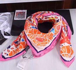 Wholesale Top Quality Headbands - Women Diagonals 100% Silk Printed Scarf Top Quality Luxury Brand Designer Floral Scarves Shawl Handkerchief 90*90cm Square CC994