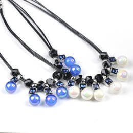 Wholesale Design Fashion Jewelery - New Arrival Choker Bib Statement Necklace White Blue Crystal Beads Leather Chain For Woman Gift Party Noble Simple Design Fashion Jewelery