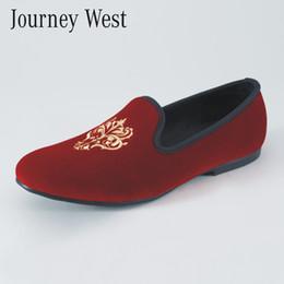 Wholesale Velvet Slippers Men - Handmade Men Red Velvet Slippers Loafers Slip-On Men's Flats Shoes Fashion Dress Formal Shoes Luxury Designer Wedding Shoes Size US 7-13