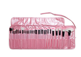 Wholesale 32 Pcs Makeup Brush Pink - 2016 Wholesale-Exquisite Girl women lady Pink black 32 Pcs Make Up Tools Professional Cosmetic Makeup Brush Set Kit + fashion cute Bag DHL