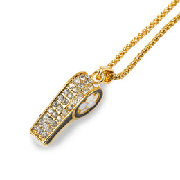 Wholesale Necklace Whistle - Hot Sale New Style Fashion Gold Plated Jewelry Whistle Pendant Necklace Punk Rock Hip Hop Mens Long Gold Chain Necklaces