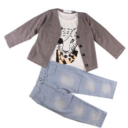 boys preppy suits Coupons - Boy clothes preppy outfit kid clothing T-shirt coat jeans 3-piece set outfits baby boys toddler animal cool tiger tops Autumn Spring suit