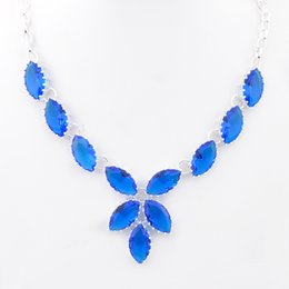 Wholesale Baby Blue Necklace - New 2016 Women's Perfume Charms Shining Blue Topaz Baby 925 Sterling silver Necklace CN0487