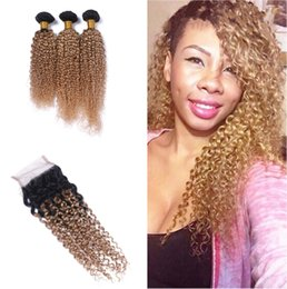 Wholesale Extensions 27 Weft - Dark Root Ombre 1B 27 hair Weft With Closure 4Pcs Lot Honey Blonde 1B 27 Top Lace Closure With Kinky curly Hair Extension