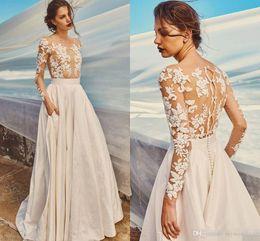 Wholesale Cover Honey - Elbeth Gillis Milk Honey 2017 Bridal Separates Illusion Long Sleeves Wedding Dresses Lace Applique Bohemian Beach Wedding Gown Cheap