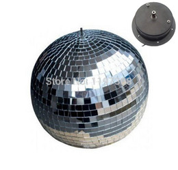 "mirrored ball light Coupons - D25cm diameter clear glass rotating mirror ball 10"" disco DJ party light AC motor home stage Bars shop holiday disco balls decor"