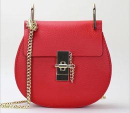 Wholesale Sky Saddle - 2016 New Brand Women Handbag Genuine Leather handbags Famous Saddle bags Women Cross body bag Single shoulder bag HE3810 AAA+ freeshipping