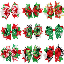 Wholesale Hairbow Flowers - christmas hair bows clips accessories for children girls fashion kids babys cute flower Bowknot Hairpin hairclip hairbow for xmas KKA2643