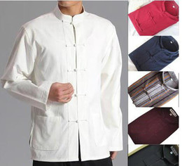 Wholesale Tai Chi Shirts - Wholesale-10colors pure cotton traditional suits outfit male Men martial arts long sleeve shirts topwing chun kungfu tai chi uniforms