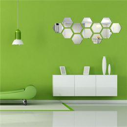 Wholesale Toilet Mirror Sticker - 5 colors Removable Mirror Hexagon Acrylic Wall Sticker DIY Art Vinyl Decal Home Decor