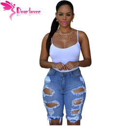 Wholesale Destroyed Jeans Shorts - Dear Lover One Piece Sexy Hot Summer 2016 Women Skinny Jeans Pants Trousers Black Blue Denim Destroyed Bermuda Shorts LC78649 q1113