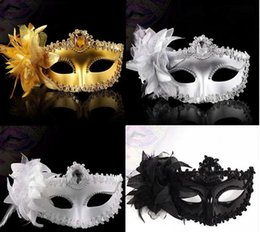 Wholesale White Cloth Mask - Flower Side Venetian Masquerade Masks Sequins Halloween Ball Party Fancy Gold Cloth Coated Valentine Day Birthday Christmas Hot Sale G768