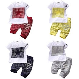 Wholesale Star Boy Shirt - PrettyBaby 2016 summer boys clothing sets 4 colors T-shirt +trousers five-pointed star printed short sleeves kids clothes free shipping