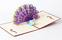 Wholesale 3d Wedding Cards Design - Perfect 3D Pop Up birthday Wedding party Card Peacock Design Christmas Postcard New Year Greeting Card Handmade Folding Kirigami