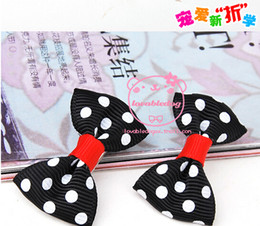 Wholesale Dog Hair Ribbons - Wholesale-50PC Lot Brand Handmade Pet Dog Hairpin Accessories Ribbon Hair Bows Plaid Grooming Hair Clips