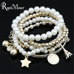 Wholesale Pearl Star Bracelet - Multilayers Charms Fashion Imitation Pearl Pulseras Star Coin Effiel Tower Statement Bracelets & Bangles for Women Jewelry 2017