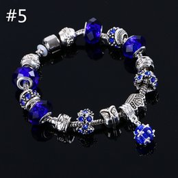 Wholesale Murano Silver European Bead Charms - beaded charms jewelry bracelets infinity beads bracelet 6 Colors Fashion Silver Daisies Murano Glass&Crystal European Charm Beads Fits