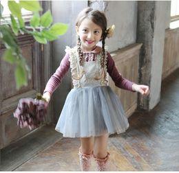 Wholesale Fashion Pantskirt - Fashion Girl Suspender Skirt Tulle Lace for Girls Cotton Tulle Pantskirt Children Kids Cotton Tights Girl Blue Pink K7718