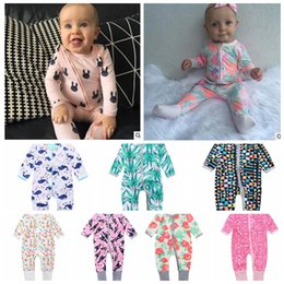 Wholesale Wholesale Long Sleeved Baby Rompers - INS Newborn baby rompers cotton long-sleeved overalls Boys Girls Autumn flower Zipper Romper Jumpsuits Infant climbing clothes KKA2417