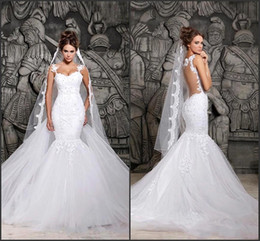 Wholesale Sweetheart Transparent Wedding Dress - Custom Made 2015 Beautiful Court Train Illusion Transparent Back Beaded Lace Mermaid Wedding Dresses Bridal Gowns New Sexy Dress CPS296